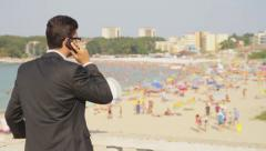 Man in Suit Business Vacation Cellphone Work Relaxation Concept Stock Footage