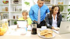 Ethnic Working Couple Family Breakfast - stock footage