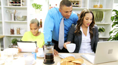 Ethnic Working Couple Family Breakfast - stock footage