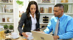 Young Professional Ethnic Couple Wireless Technology Home Kitchen Stock Footage