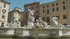 Fountain of Neptune, Rome 5 (slomo dolly) Stock Footage