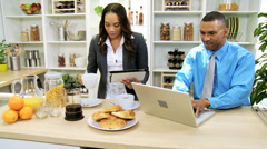 Modern Working African American Couple Breakfast - stock footage