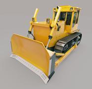 heavy crawler bulldozer - stock illustration