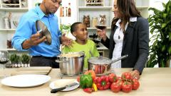 Happy Young African American Family Home Dinner Stock Footage