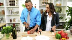 Healthy African American Business Couple Healthy Living Meal Stock Footage