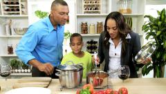 Professional Ethnic Parents Child Preparing Healthy Living Meal Kitchen Stock Footage