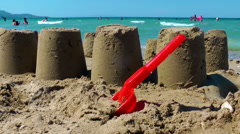 Castle from sand near the seaside Stock Footage