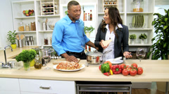 African American Couple Kitchen Preparing Healthy Dinner Stock Footage