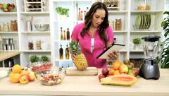 African American Girl Recipe Wireless Tablet Healthy Living Stock Footage