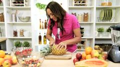 African American Girl Preparing Healthy Lifestyle Fruit Stock Footage