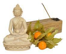 Buddha And Incense Stick Box - stock photo