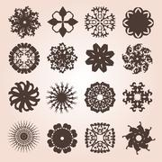 set of 16 snowflakes - stock illustration