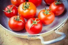 Rustic tomatoes in the skillet with vintage purple toning Stock Photos