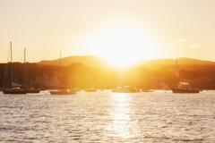 Epic sunset over Camden Harbour Stock Photos