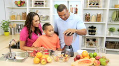 Ethnic Healthy Family Homemade Fresh Fruit Smoothie Stock Footage