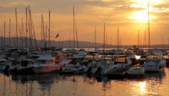 Sunset Marina Yachts Port Vacation Concept HD Stock Footage