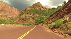 Beautiful Kolob Canyon mountains drive POV HD Stock Footage