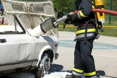 Firefighter training Stock Photos