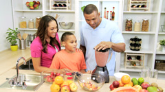 Healthy African American Family Blender Organic Fruit Drink - stock footage
