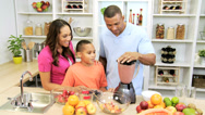 Healthy African American Family Blender Organic Fruit Drink Stock Footage