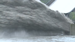 Flood Waters Blast Into Air At Hydroelectric Dam Stock Footage