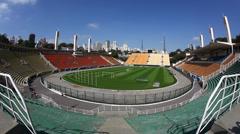 Pacaembu Stadium, Sao Paulo, Brazil Stock Footage