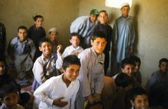 Afghan school children in school near 1 hour from Kabul Stock Photos