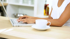 Hands Ethnic Girl Laptop Computer Kitchen Counter - stock footage
