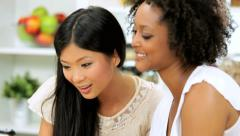 Female Friends Social Networking Kitchen Touch Screen Tablet Stock Footage