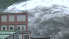 Flood Waters Burst From Hydroelectric Plant Dam - stock footage