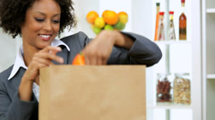Business Female Unpacking Shopping Bag Fresh Vegetables - stock footage
