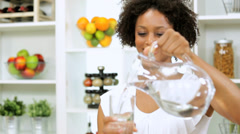 Healthy Ethnic Girl Fresh Glass Water - stock footage