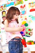 child play block in play room. - stock photo