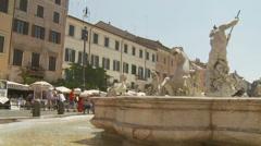 Fountain of Neptune, Rome 8 (slomo dolly) Stock Footage