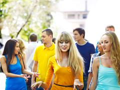 Stock Photo of group people in summer outdoor.