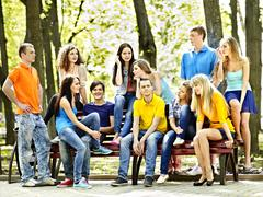 group people outdoor. - stock photo