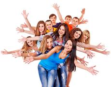 Group people isolated. Stock Photos