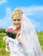 Bride summer outdoor. Stock Photos