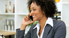 Freelance African American Businesswoman Working Home Smart Phone Tablet - stock footage