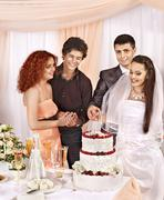 group people at wedding table. - stock photo
