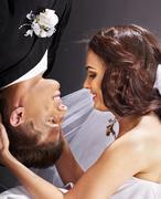 wedding couple  face to face. - stock photo