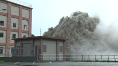 Flood Waters Blast From Dam Hydroelectric Plant Stock Footage