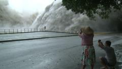 Flood Waters Blast From Dam Hydroelectric Plant - stock footage