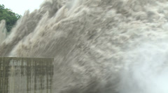 Major Flood Water Release At Hydro-Electric Dam Stock Footage