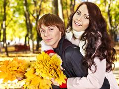 couple on date autumn outdoor. - stock photo