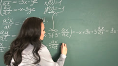 Schoolchild writing on blackboard. Stock Footage