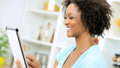 Ethnic Female Wireless Tablet App Online Healthy Website Stock Footage