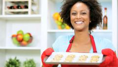 Ethnic Girl Red Apron Holding Tray Home Baked Cookies Close Up Stock Footage