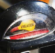 Close up of Violation on parking meter Stock Photos