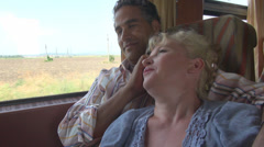 Romantic couple travel train happy, smile woman man trip, travel, holiday Stock Footage